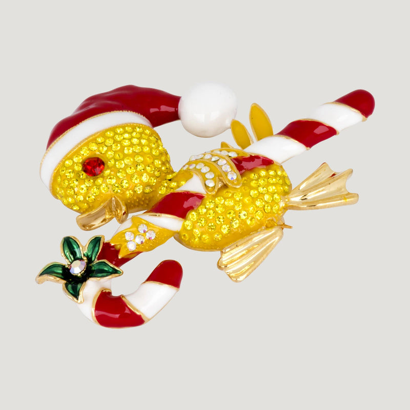 Cheerful Christmas Chick with Candy Cane Brooch