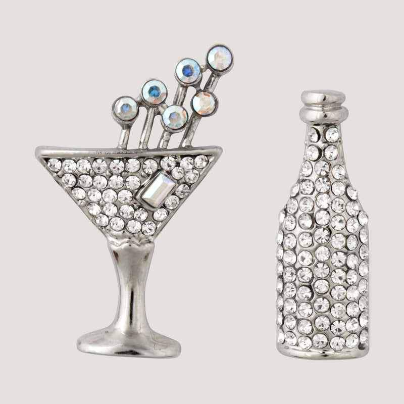 Crystal Bottle & Champagne Glass Earrings