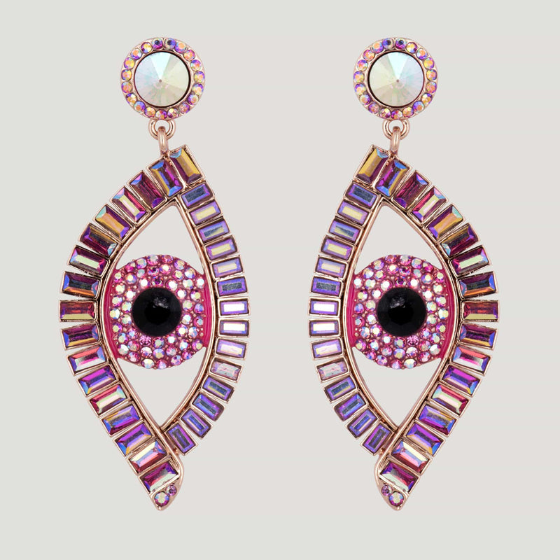 Eye Baguette Stones Drop Earrings
