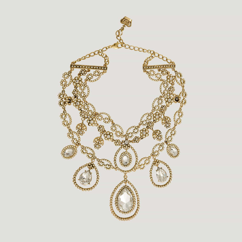 Baroque Chain Crystal Teardrop Necklace