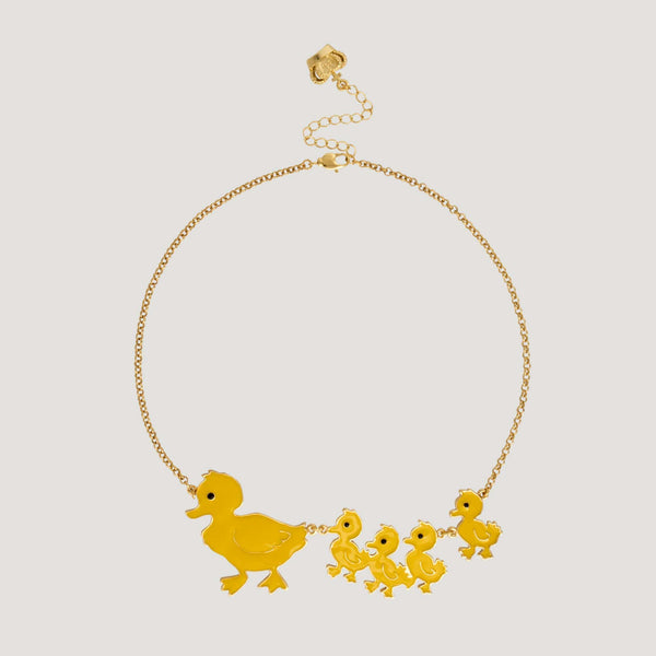 Mother Duck with her Ducklings Necklace
