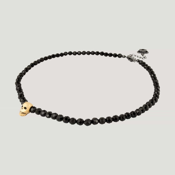 Gold plated Silver Skull with Beads Necklace