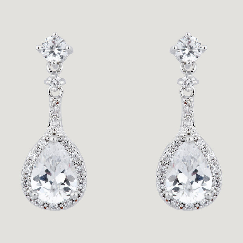 Crystal Teardrop Long Earrings