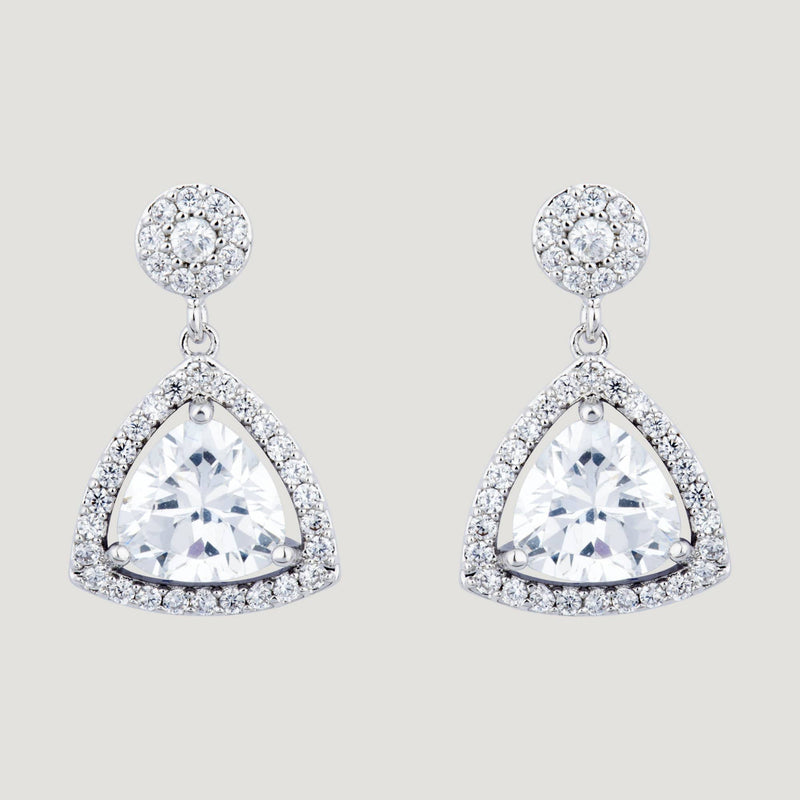 CZ Prism Crystal Drop Earrings