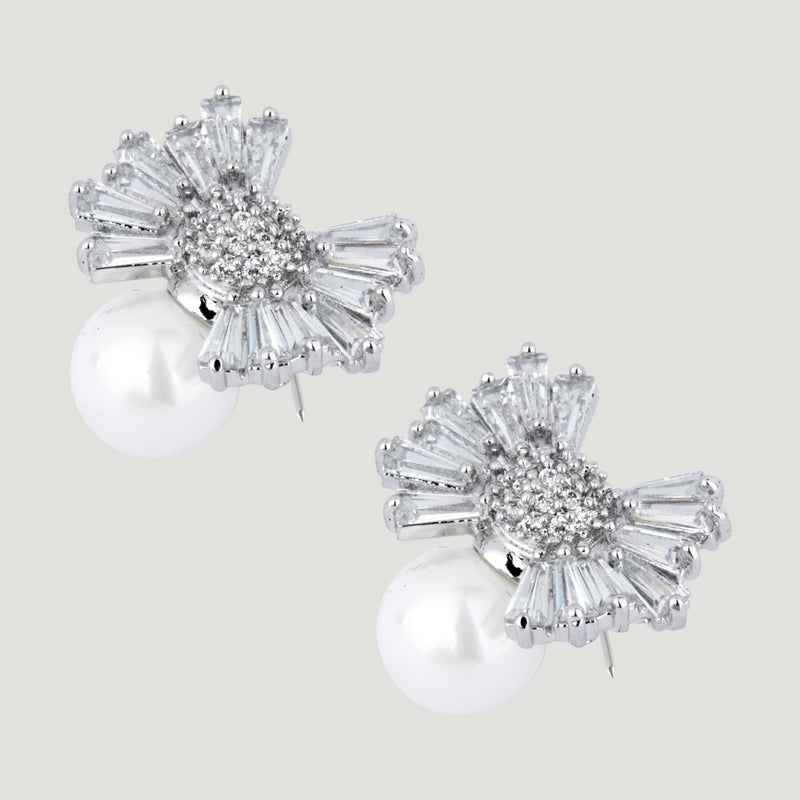 Crystals Bow Pearl Earrings