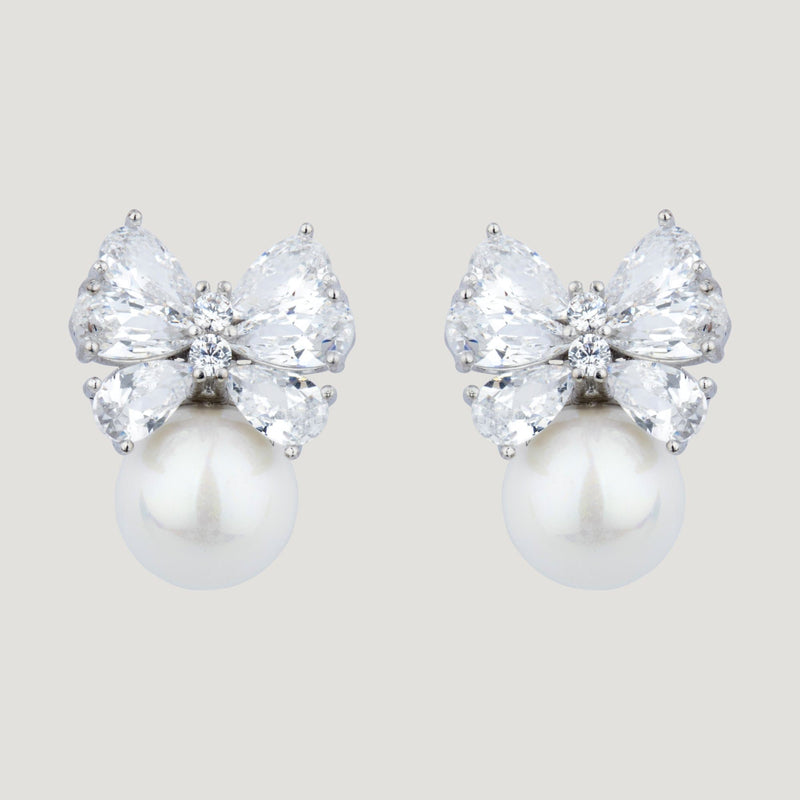 Tiny Bow Pearl Earrings