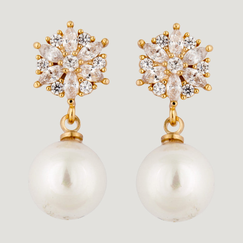 Drop Pearl Crystal Top Earrings