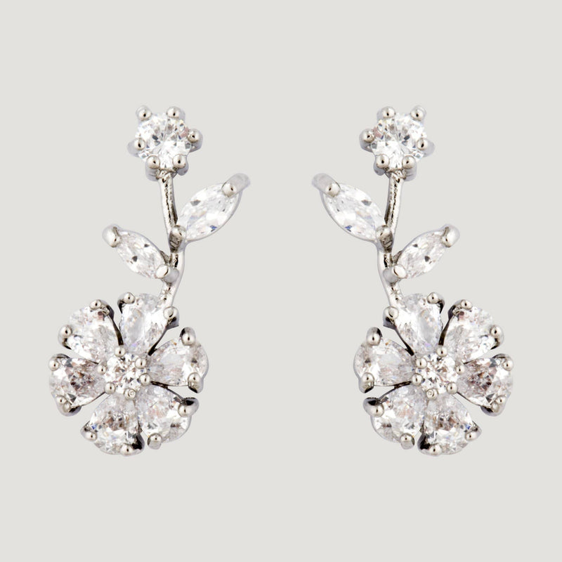 Drop Crystal Flower Earrings