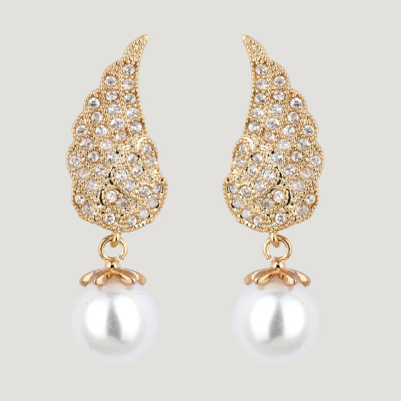 Crystal Wings Drop Pearl Earrings