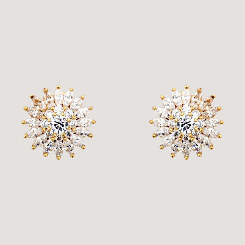 Crystal Sunflower Stud Earrings