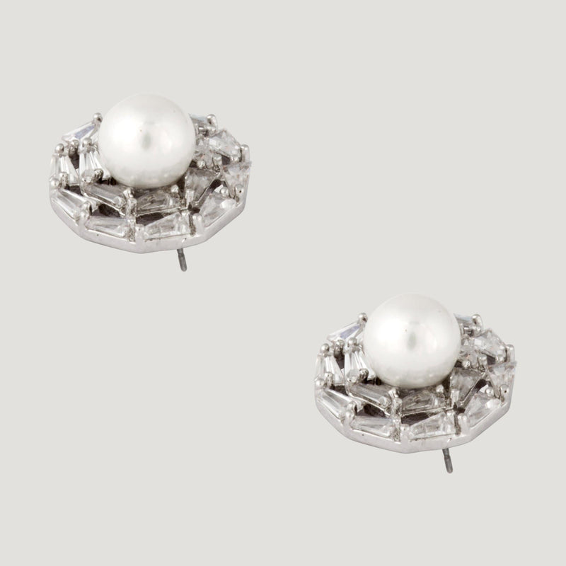 Crystal Stud Earrings with Pearl