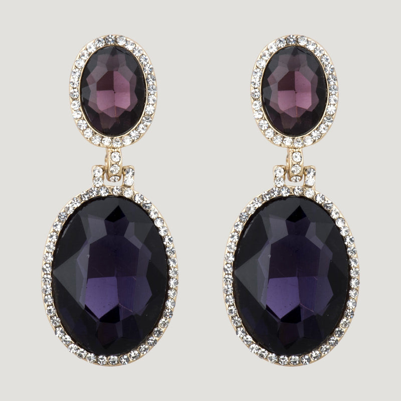 Two Oval Crystals Drop Earrings