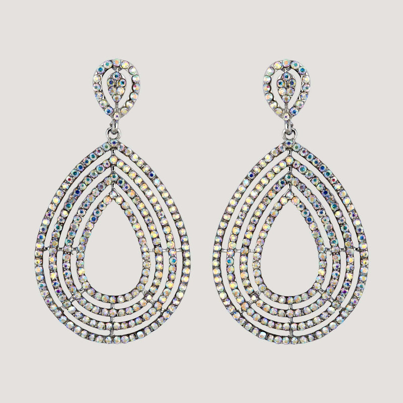 Crystal Teardrop Large Drop Earrings