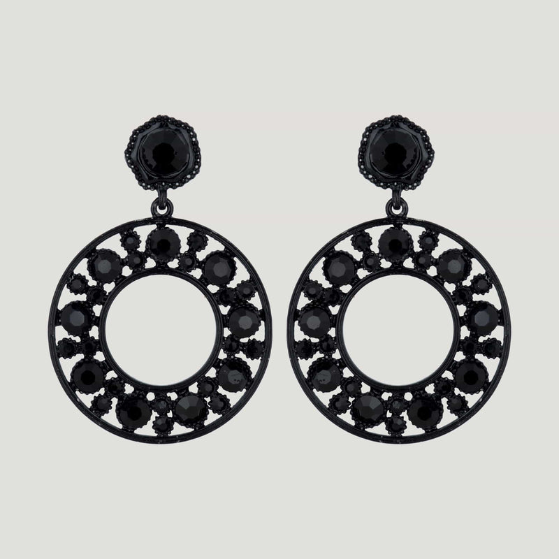 Drop Circle Crystal Earrings