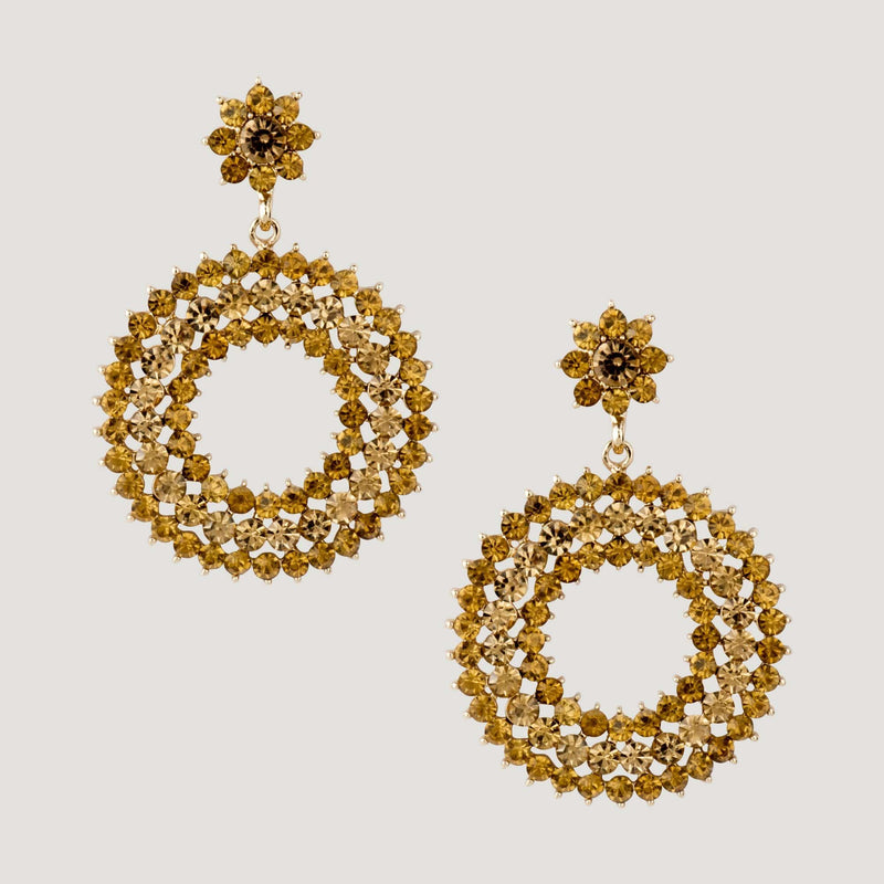 Circle Crystal Drop Earrings