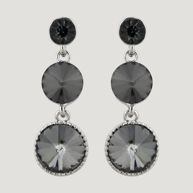 Three Graduating Circle Crystals Drop Earrings