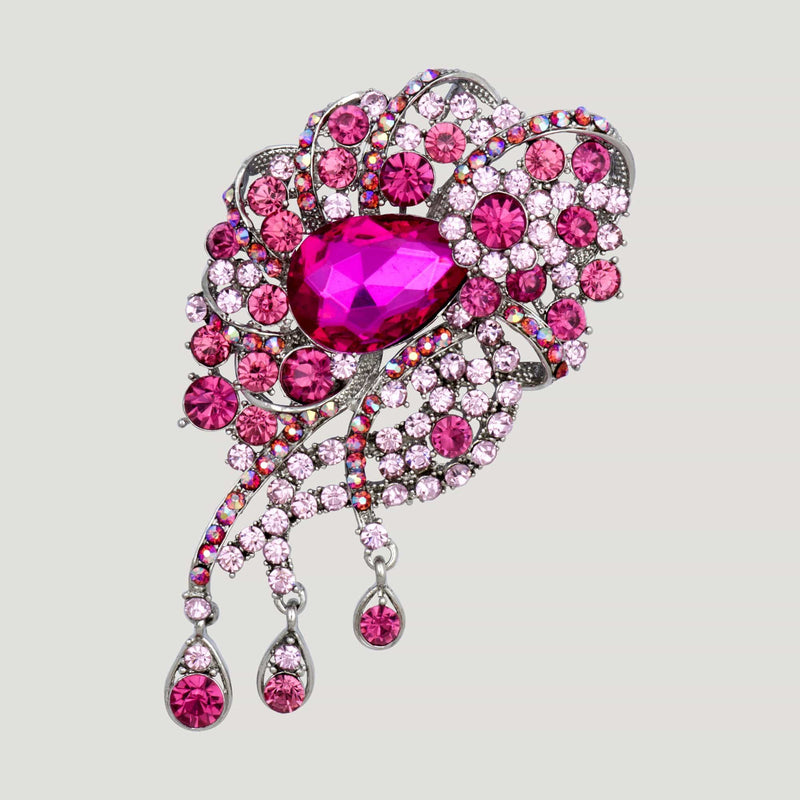 Crystal Teardrops Brooch