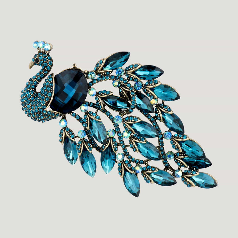 Crystal Peacock Brooch