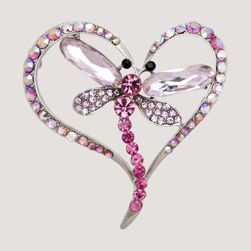 Crystal Heart with Dragonfly Brooch