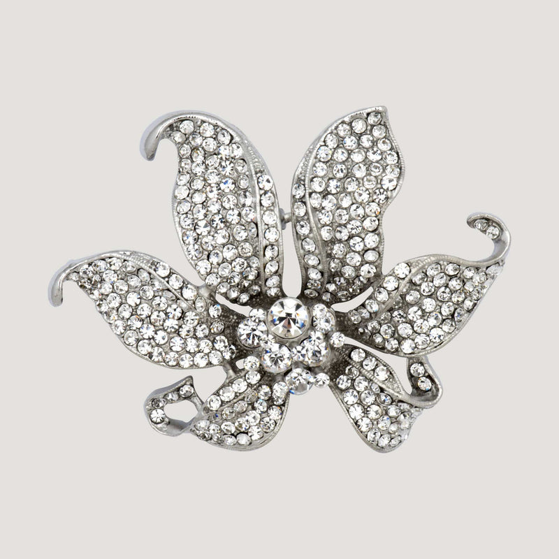 Opening Crystal Flower Brooch