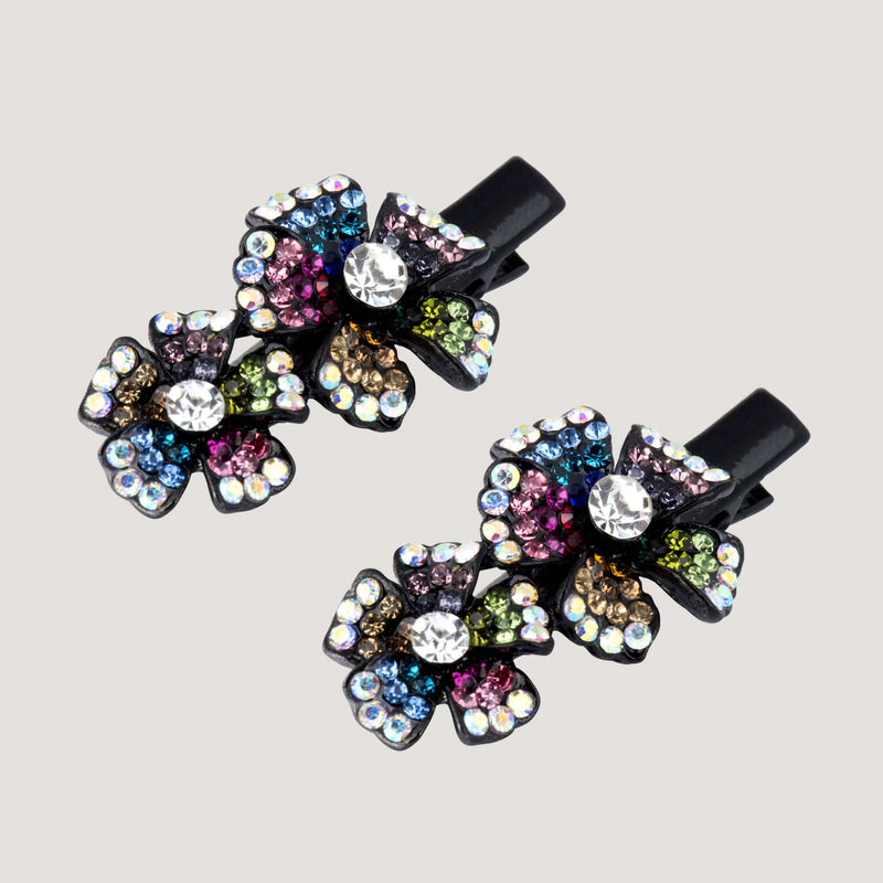 Crystal Flowers Hairclip x 2