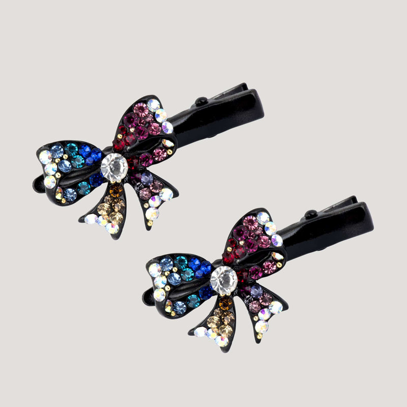 Crystal Bow Hairclips x 2