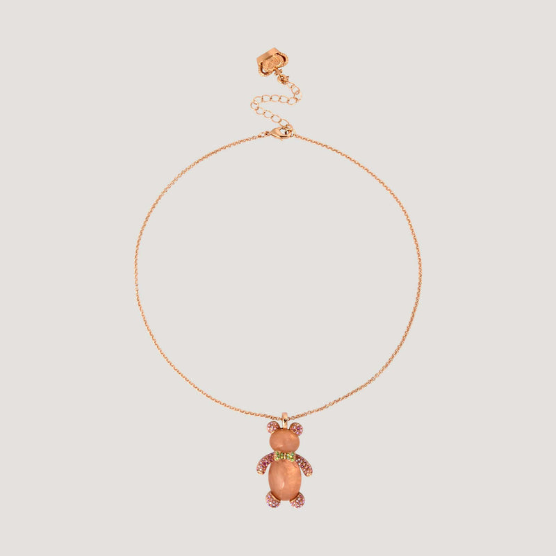 Crystals Teddy Bear Pendant Necklace
