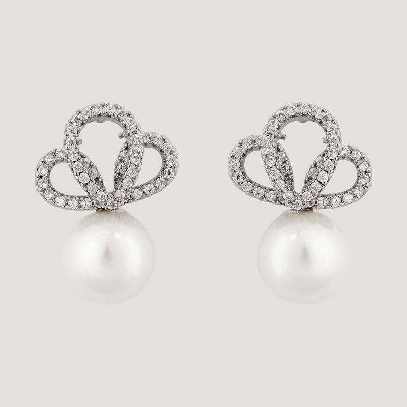 CZ Crystal Teardrops Pearl Earrings