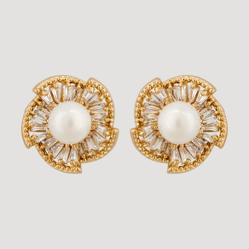 CZ Crystal Fan Shape Pearl Stud Earrings