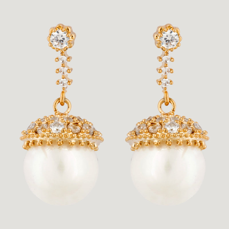 CZ Crystal Orb Drop Pearl Earrings