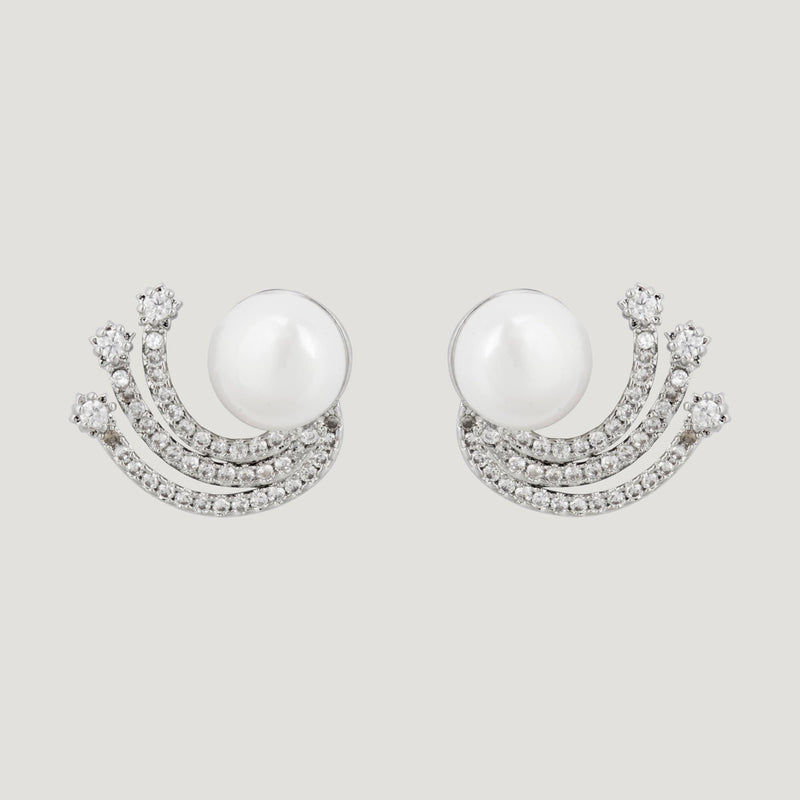 CZ Crystals Shooting Stars with Pearl Earrings
