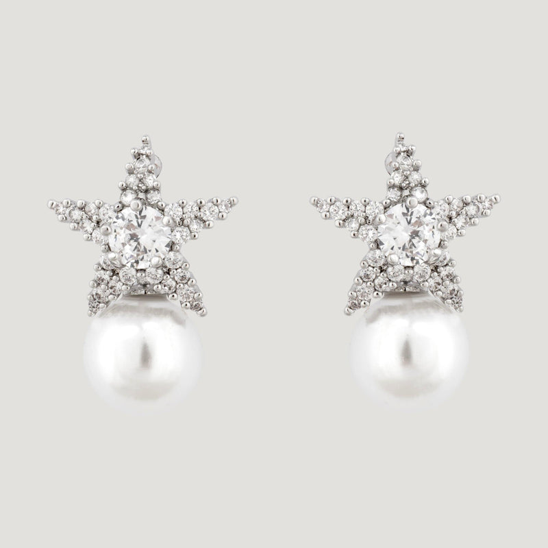 Crystal Star with Pearl Earrings