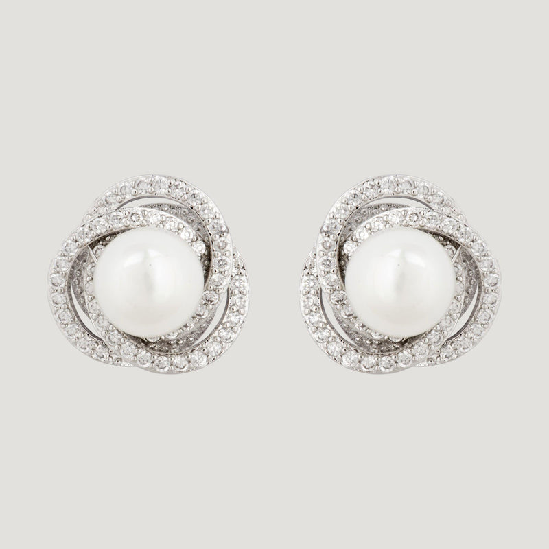Crystal Swirl Pearl Stud Earrings