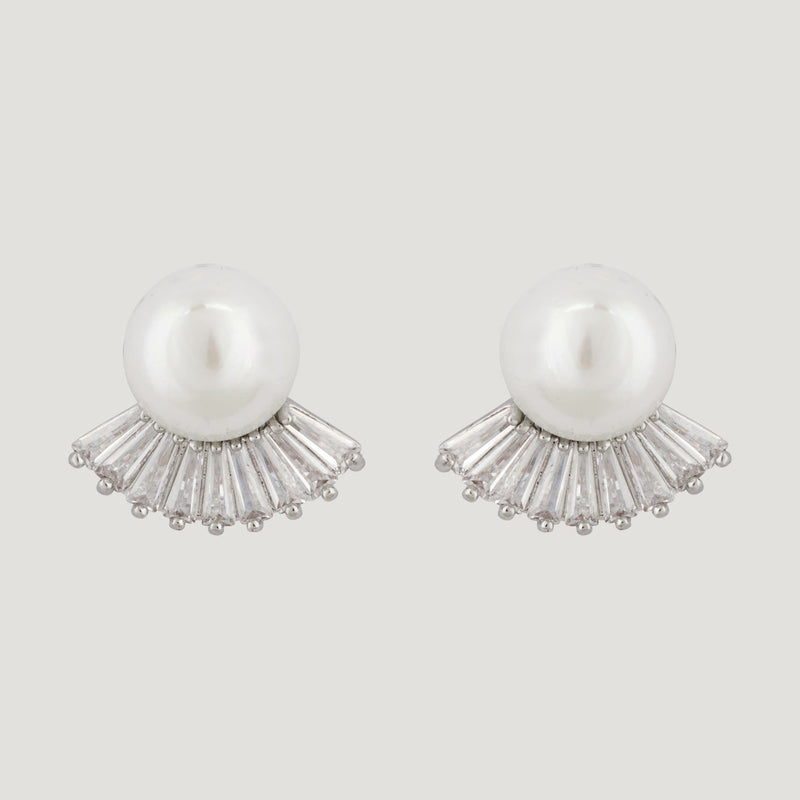 Baguette Crystals with Pearl Stud Earrings