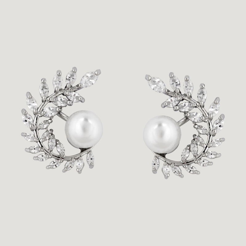 Pearl With Crystal Leaves Branch Earrings