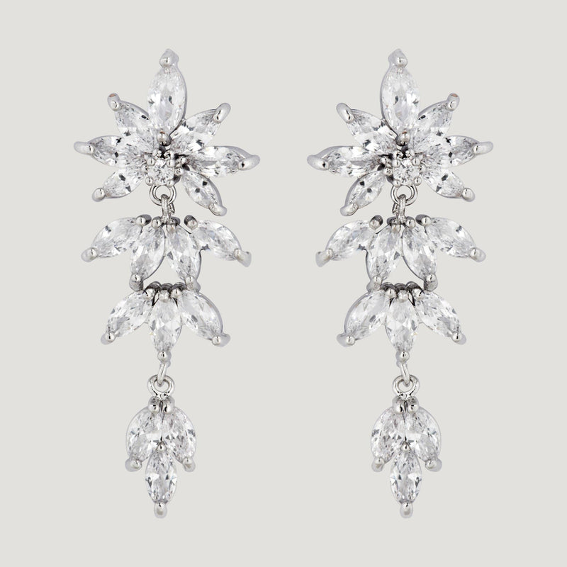 CZ Graduating Lily Drop Earrings