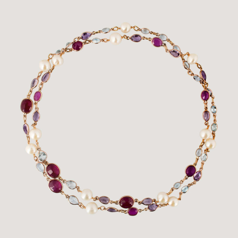 Ruby Topaz Amethyst and Pearls Long Necklace