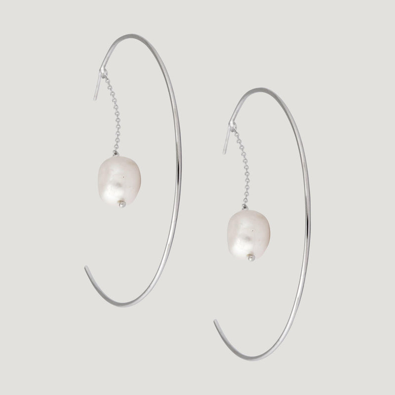 Large Hoop Chain Drop Pearl Earrings