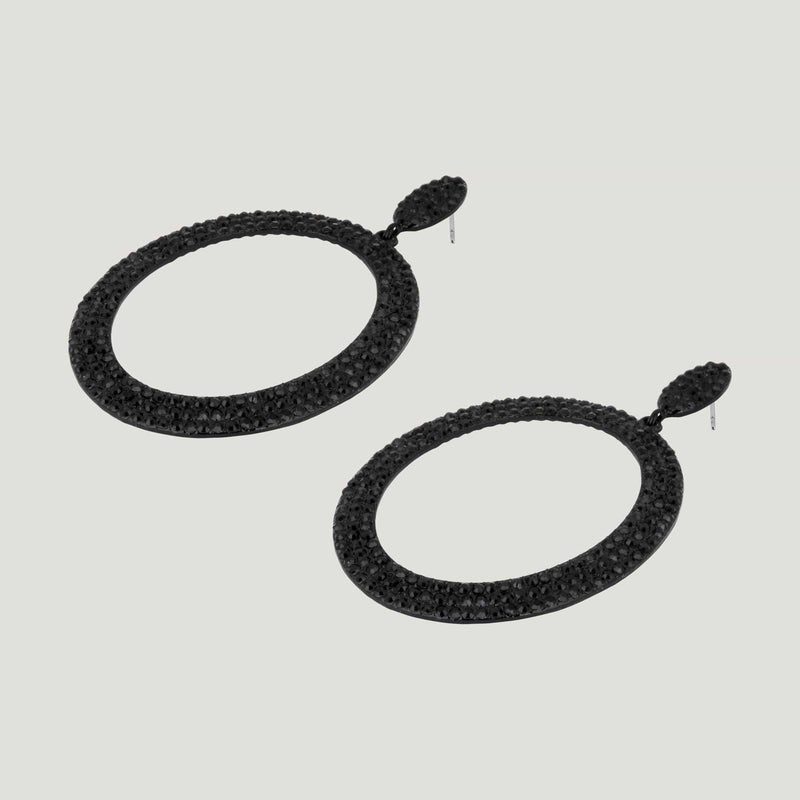 Oval Hoop Drop Earrings