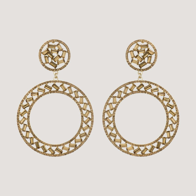 Large Crystal Circle Baguette Stone Hoops
