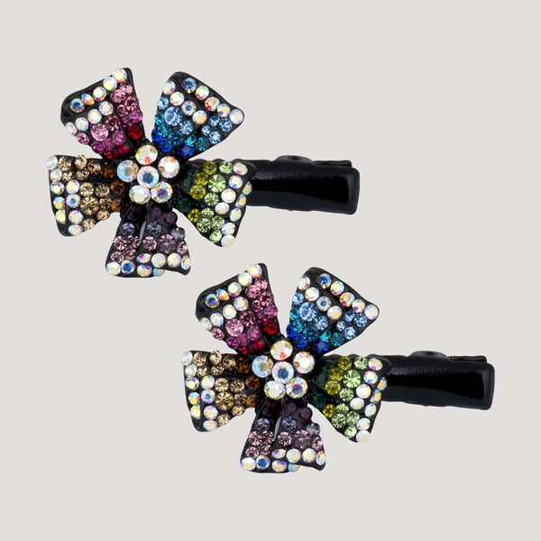 Dog Rose Crystal Hairclips x 2