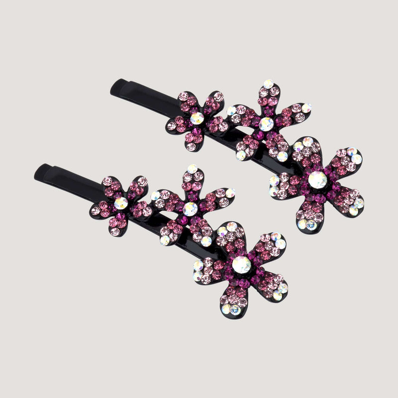 Trio Crystal Jasmine Hairclip Set x 2