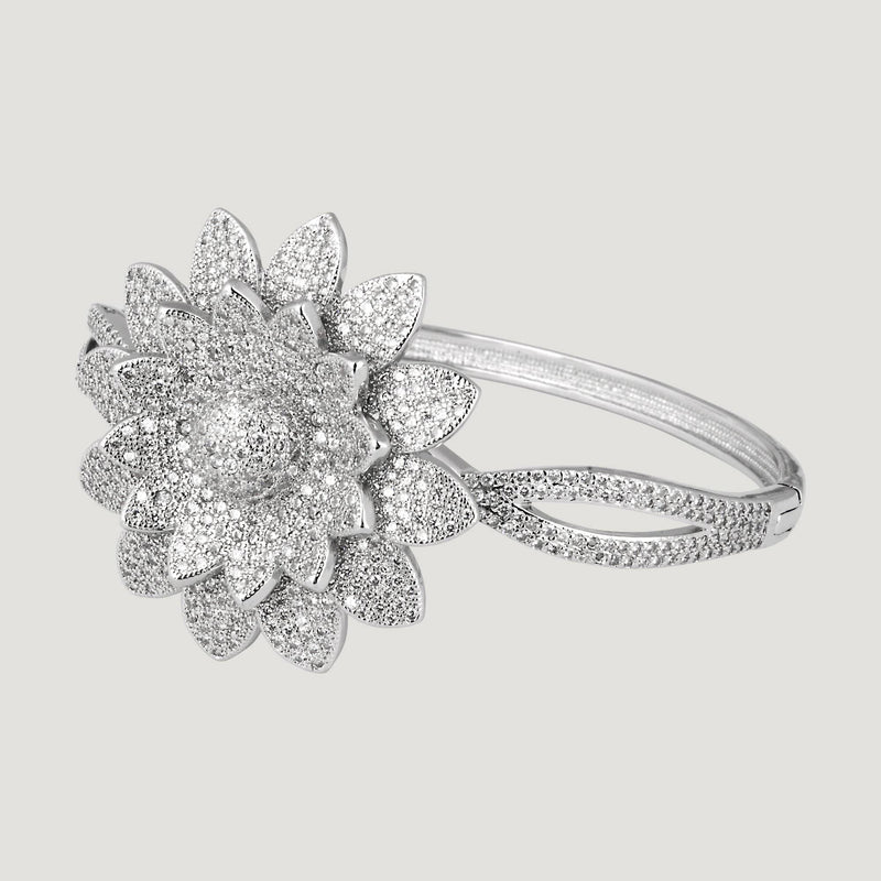 CZ Sunflower Clasp Bangle