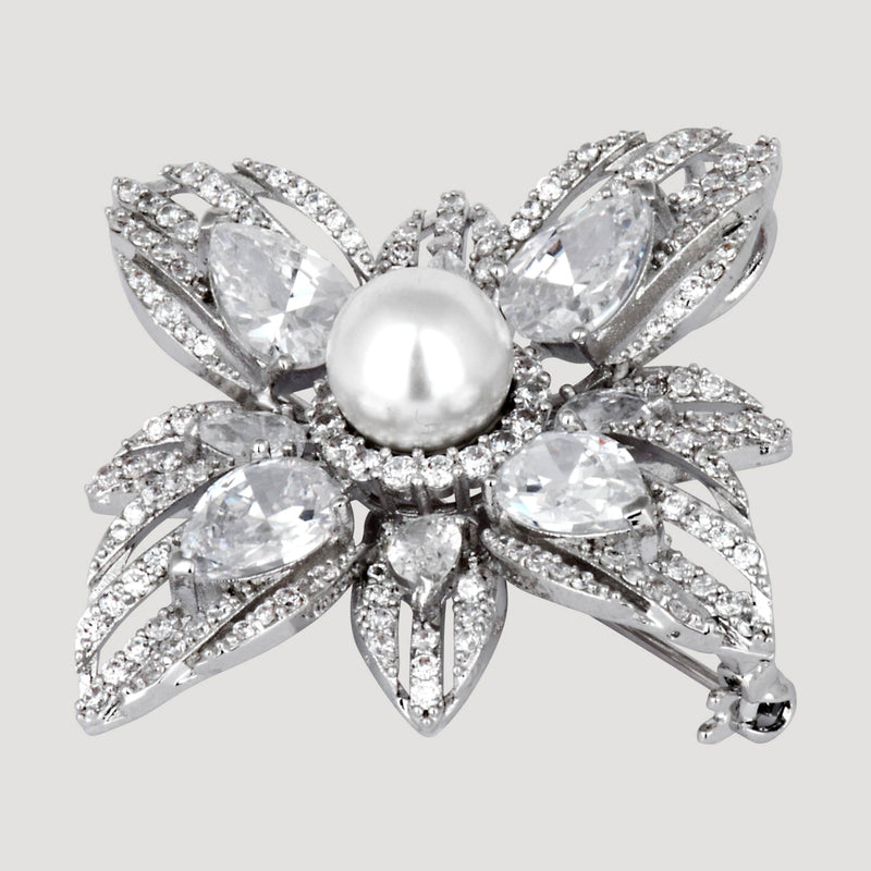 CZ Crystal Flower Center Pearl Brooch