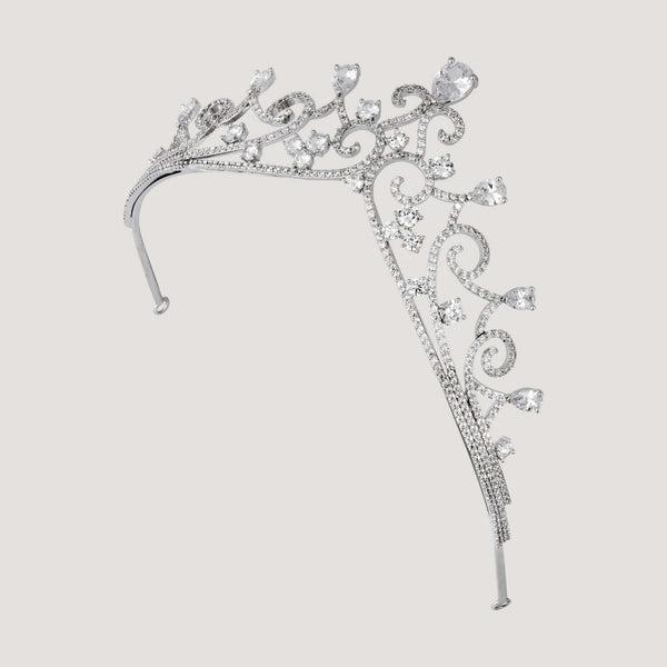 Ornate Teardrop Crystal Tiara