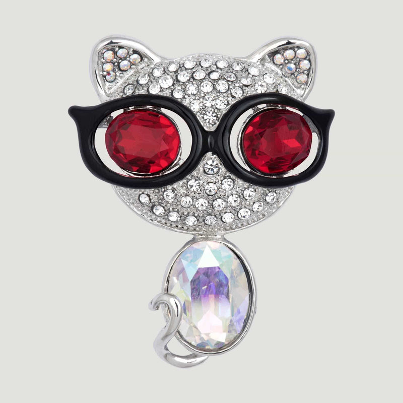 Crystal Cat with Sunglasses Brooch