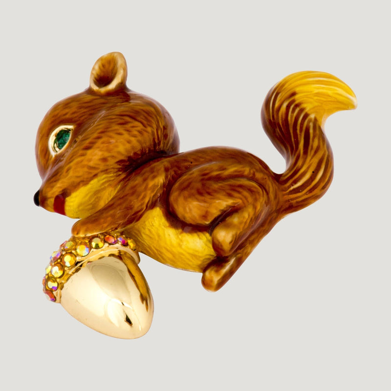 Squirrel with Acorn Brooch