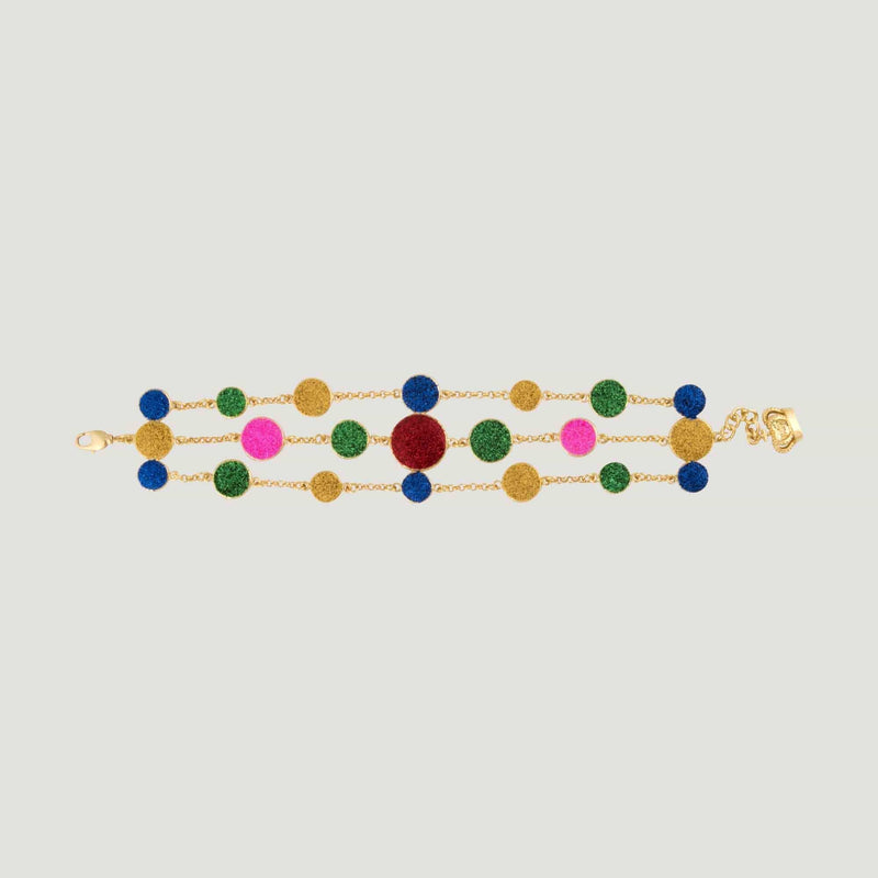 Glitter Droplet Three Row Bracelet