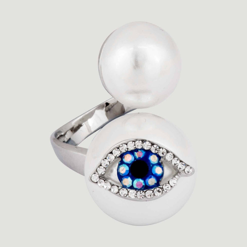 Adjustable Double Pearl Eye Ring