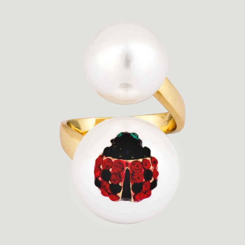 Adjustable Double Pearl Ladybird Ring